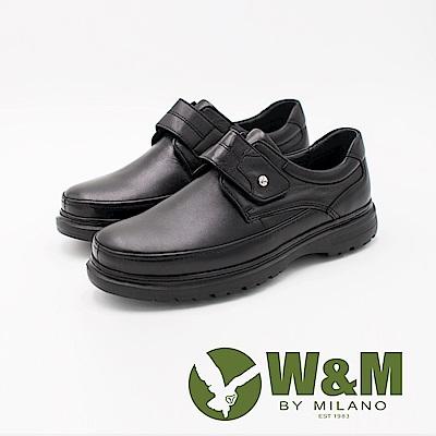 W&M 經典LOGO魔鬼氈增高厚底男皮鞋-黑