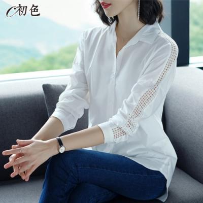 初色  鏤空造型純棉襯衫-白色-(M-2XL可選)