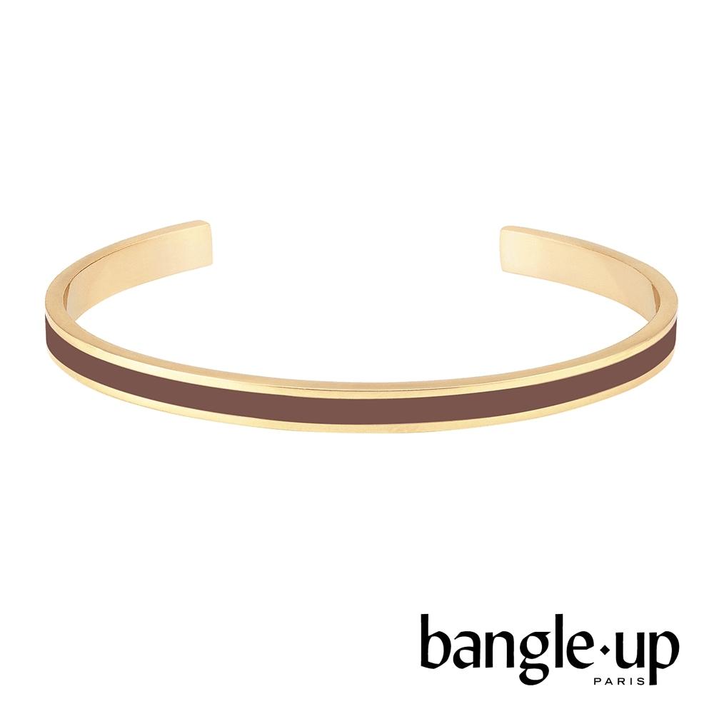 BANGLE UP 復古經典琺瑯鍍金開口手環 -摩卡棕
