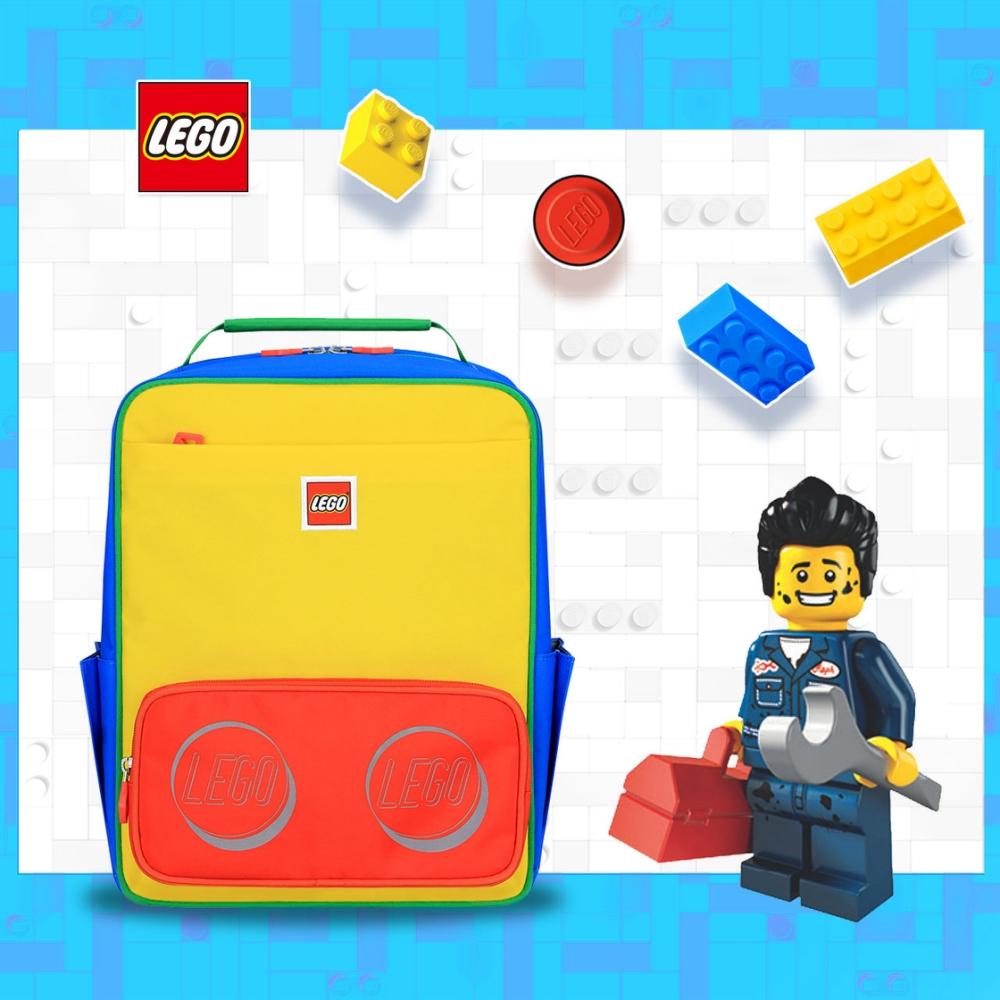 LEGO丹麥樂高經典中背包-紅黃藍撞色 20134-1948