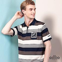 oillio歐洲貴族 短袖POLO領條紋線衫 透氣天絲棉衣料 藍色