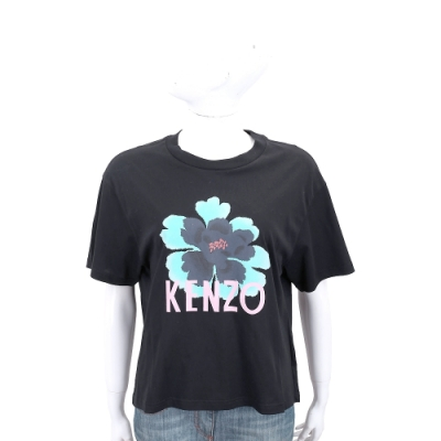KENZO 扶桑花字母黑色棉質短袖T恤