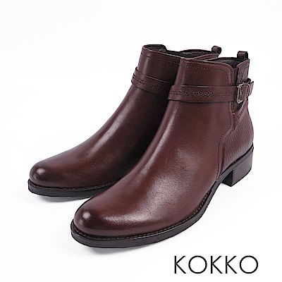KOKKO-歐洲同步刷色牛皮平底短靴-大地咖
