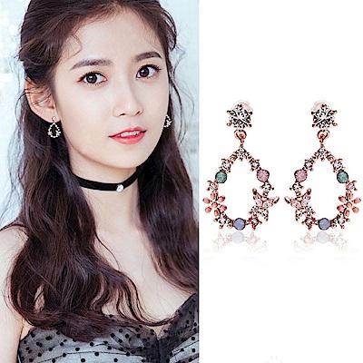 梨花HaNA 無耳洞韓國少女心噴發水滴花園甜美耳環夾式
