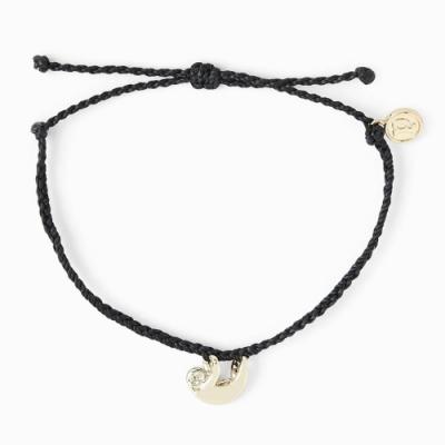 Pura Vida 美國手工 慈善系列 金色樹懶 黑色蠟線可調式手鍊衝浪海灘防水手繩