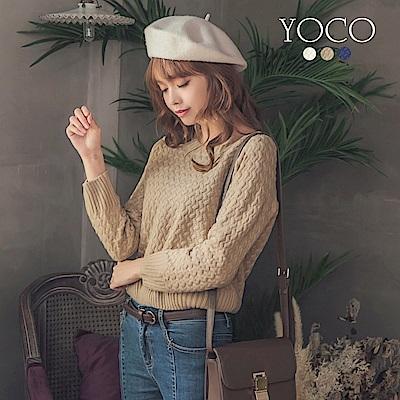 東京著衣-yoco 經典編織格紋知性厚實針織長袖上衣-S.M.L(共三色)