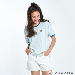 GIORDANO 女裝清新水果刺繡短袖T恤- 62 寶貝藍色