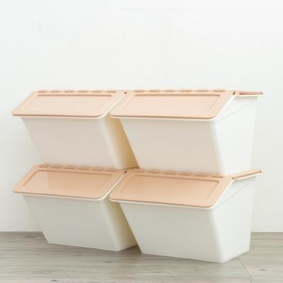 dayneeds 果凍掀蓋式可堆疊收納箱四入(咖啡色)