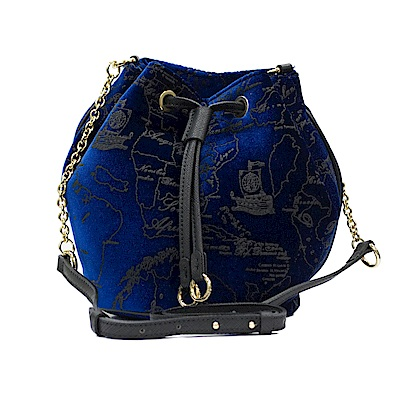 Alviero Martini義大利地圖包 限量版 天鵝絨 小水桶包-寶藍