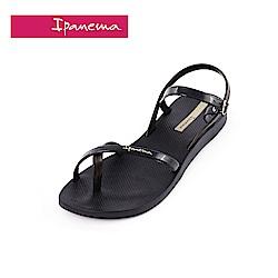 IPANEMA FASHION SAND.VII系列 純色交叉細帶涼鞋-黑色