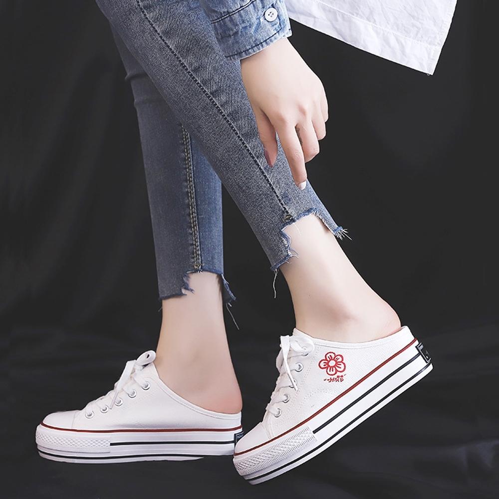 LN  現+預 韓版印花厚底帆布穆勒鞋(厚底鞋/休閒鞋) (白色)