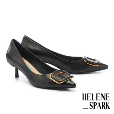 高跟鞋 HELENE SPARK 時尚典雅金屬方釦羊皮尖頭高跟鞋-黑