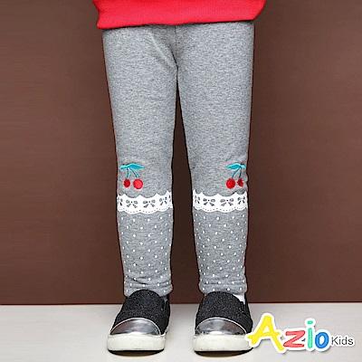 Azio Kids 長褲 櫻桃刺繡蕾絲點點印花不倒絨長褲(灰)