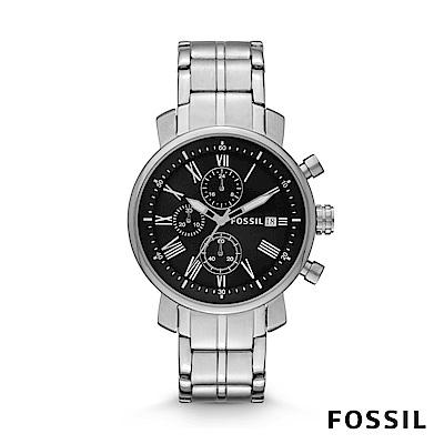 FOSSIL Rhett 造型三眼計時不銹鋼手錶 42mm BQ1000