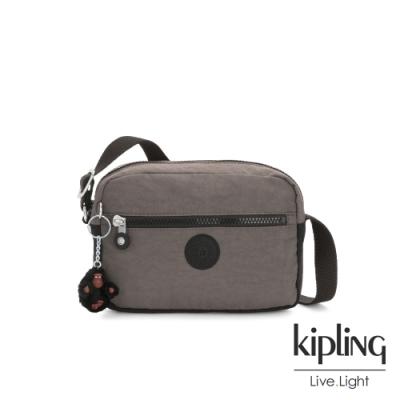 Kipling 異國土棕灰簡約斜背方包-ROBIN