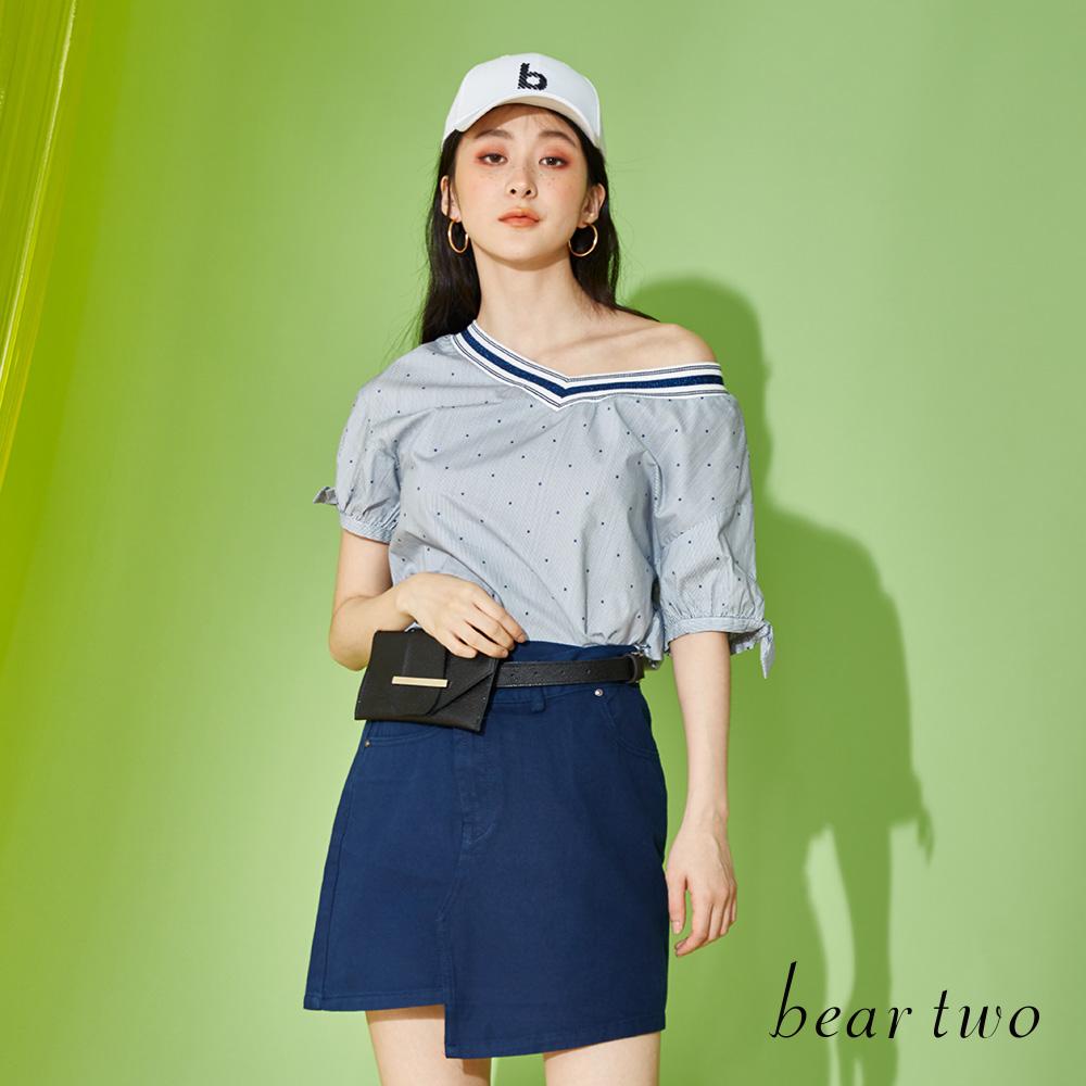 beartwo 夏日條紋甜美短版上衣(藍色)