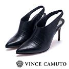 VINCE CAMUTO 經典鱷魚紋繞踝前包尖頭細跟鞋-黑色