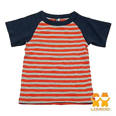 【LOVEDO-艾唯多童裝】休閒運動風 拼色條紋短袖T恤 (橘灰)