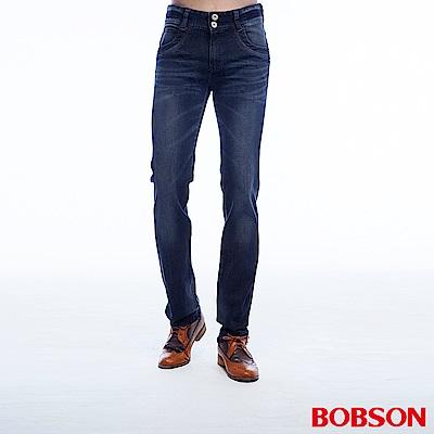 BOBSON 男款低腰雙釦彈性深藍直筒褲