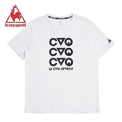le coq sportif 法國公雞牌摩登LOGO印花修身短袖T恤 男-白
