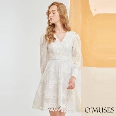 OMUSES V領刺繡A-Line短洋裝