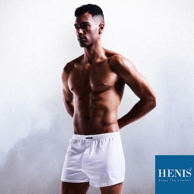 HENIS WILD狂野棉織內外兩穿 寬鬆四角褲 (白)
