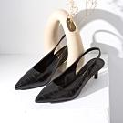 Grace gift-尖頭後空繫帶低跟鞋 黑壓紋