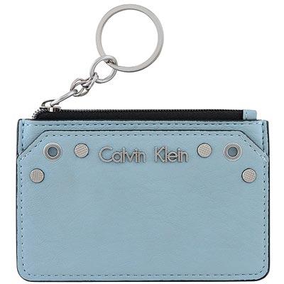 Calvin Klein 粉藍色皮革鉚釘鑰匙零錢包
