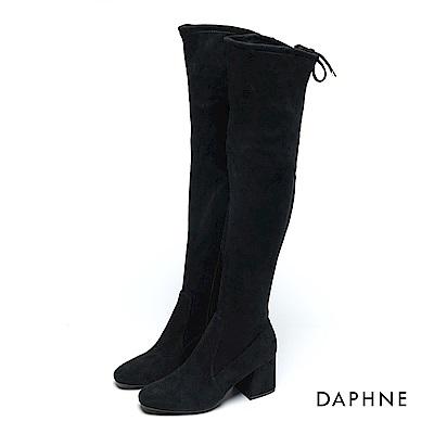達芙妮DAPHNE 長靴-抽繩彈力絨布高跟過膝長靴-黑