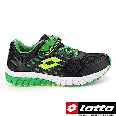 LOTTO 義大利 童 童避震跑鞋 (黑/綠)