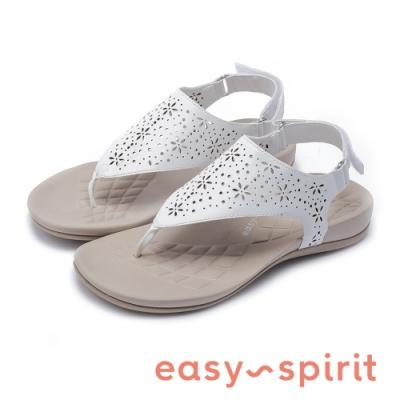 Easy Spirit-seARIES3 鏤空雕花穿趾魔鬼氈休閒涼鞋-白色