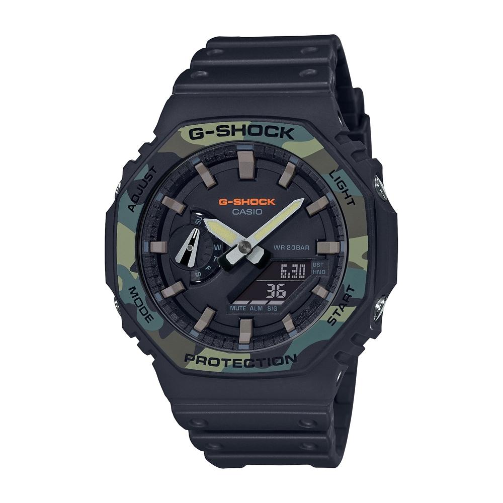 CASIO卡西歐 G-SHOCK 軍事風格 八角形錶殼 GA-2100SU-1A_45.4mm