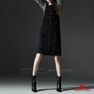 BRAPPERS 女款 Boy friend系列-前排釦彈性吊帶裙-黑