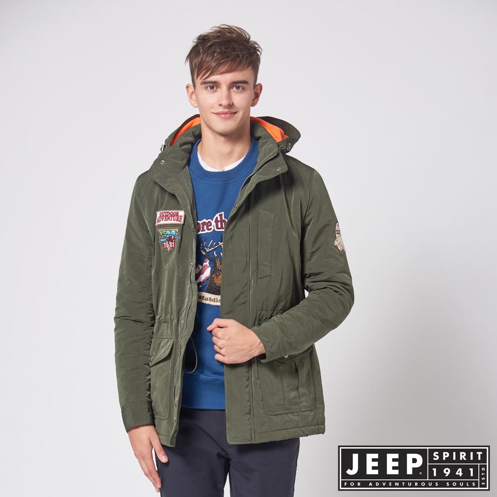 JEEP 潮男連帽鋪棉長版外套 -橄欖綠