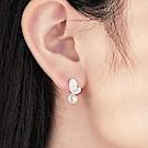梨花HaNA 韓國925銀純粹珍珠葉片簡約耳環
