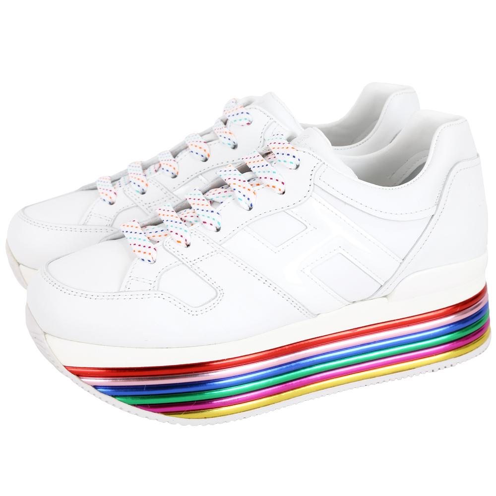 HOGAN Maxi H222 彩色霓虹厚底繫帶休閒鞋(白色)
