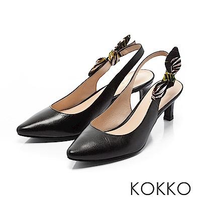 KOKKO -午後時光後拉帶兩穿蝴蝶結高跟鞋-經典黑
