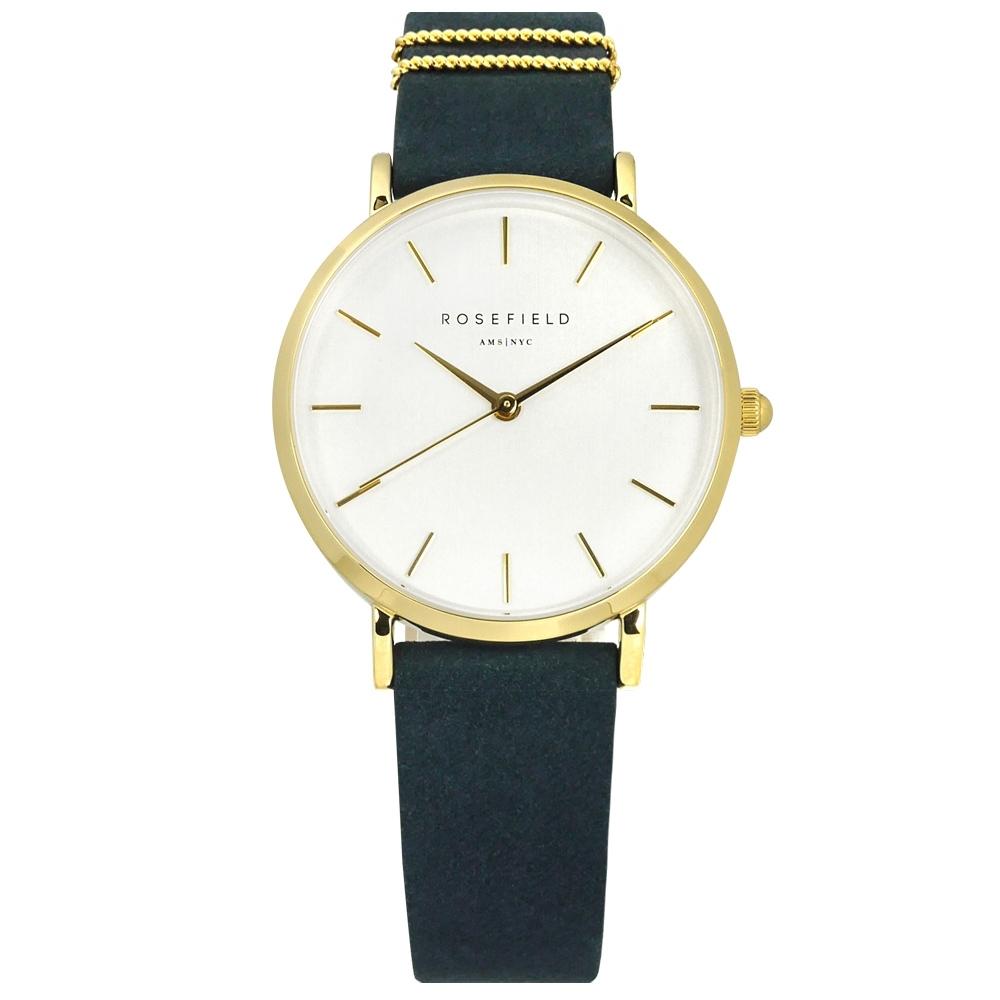 ROSEFIELD 簡約典雅 超薄 日本機芯 真皮手錶 白x金框x藍 WBUG-W70 33mm