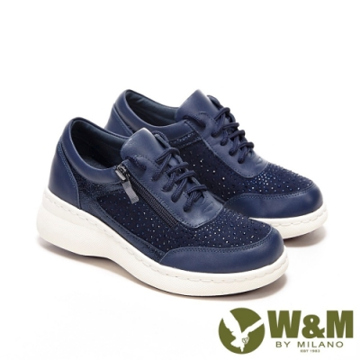 W&M 圓頭綁帶亮鑽內增高鞋 厚底鞋 女鞋-深藍(另有豆沙紅)