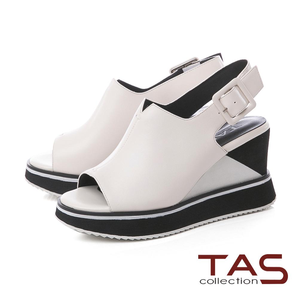 TAS素面寬版V口配色厚底楔型涼鞋-簡約米