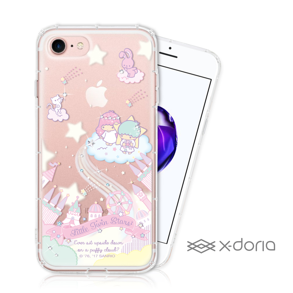 三麗鷗 雙子星 iPhone 7/8 彩繪水鑽手機空壓殼 - 城堡