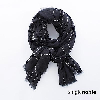 獨身貴族 雅緻工藝縫線方格羊毛圍巾(2色)