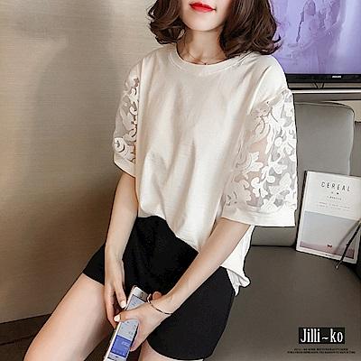 Jilli-ko 雕花網紗寬鬆短袖T恤- 白