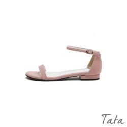 絨面一字扣平底涼鞋 共二色 TATA