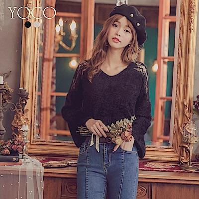 東京著衣-yoco 優雅迷人透肩蕾絲袖口修飾毛衣-S.M.L(共二色)