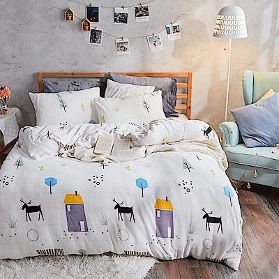 戀家小舖 / 法蘭絨  雙人加大床包兩用毯組  蒂蒂小鹿  保暖抗寒