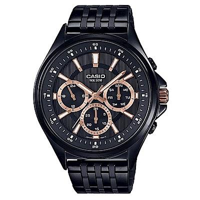 CASIO 經典黑三針三眼不鏽鋼錶(MTP-E303B-1A2)-玫瑰金時刻/47.5mm