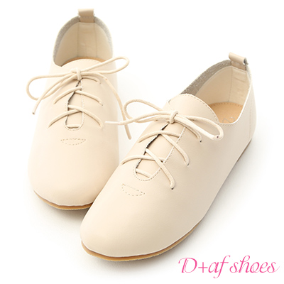 D+AF 悠閒自在.柔軟綁帶平底休閒便鞋*杏