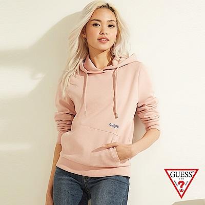 GUESS-女裝-純色後背文字印圖長袖帽T-粉 原價3990