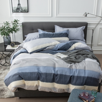 La Lune 台灣製40支精梳棉雙人加大床包被套四件組-極簡風藍調